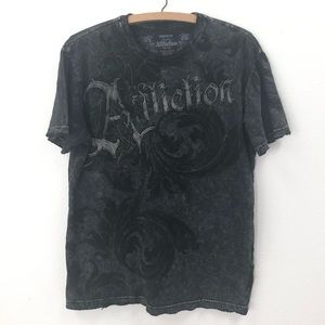 {Affliction} T-shirt with Distressed hems skulls